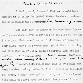 First three pages (1-3) of Winston Churchill's speech to the Joint Session of Congress, United States