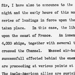 Winston Churchill's statement in the House of Commons about the invasion of France