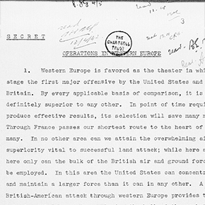 First two pages (1-2) of George Marshall's report 'Operations in Western Europe'