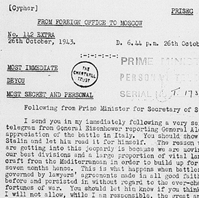 Telegram from Winston Churchill to the Foreign Secretary