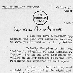 Letter from Admiral Ramsay to Winston Churchill